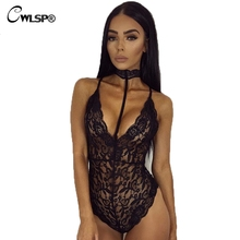 CWLSP 2018 Summer Sexy Halter Mesh See Through Lace Women Bodysuits Vintage Transparent Club Overalls Women Rompers QZ1894