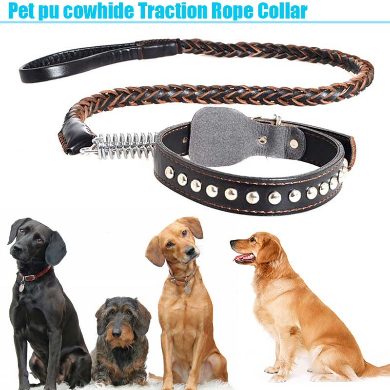 PU Leather Adjustable Wide Braided Pet Collar Traction Rope Dog Training Walking Leash Strap Harness Lead XH8Z