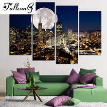 FULLCANG 4pcs/set night city mosaic needlework diy diamond painting cross stitch full square rhinestone embroidery scenery E617
