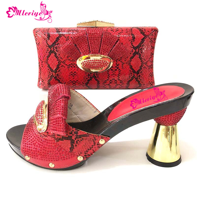 red color high quality shoes and bag matching set free shiping italian design sandal shoes with matching evening bag fashion women s evening bag with hasp and color block design