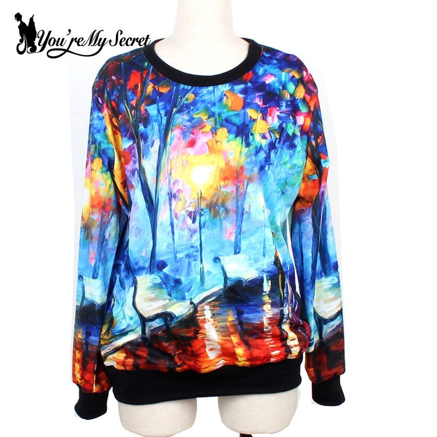 [Youre My Secret]Fashion Autumn Woman Hoodies Cosmic Watercolor 3D Printed Sweatshirt Long Sleeve Loose Casual Suit For Couple