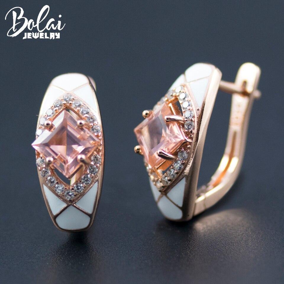 Bolai réel 925 en argent sterling créé rose morganite boucles d'oreilles couleur or rose pierres précieuses bijoux fins pour les femmes cadeau de mariage