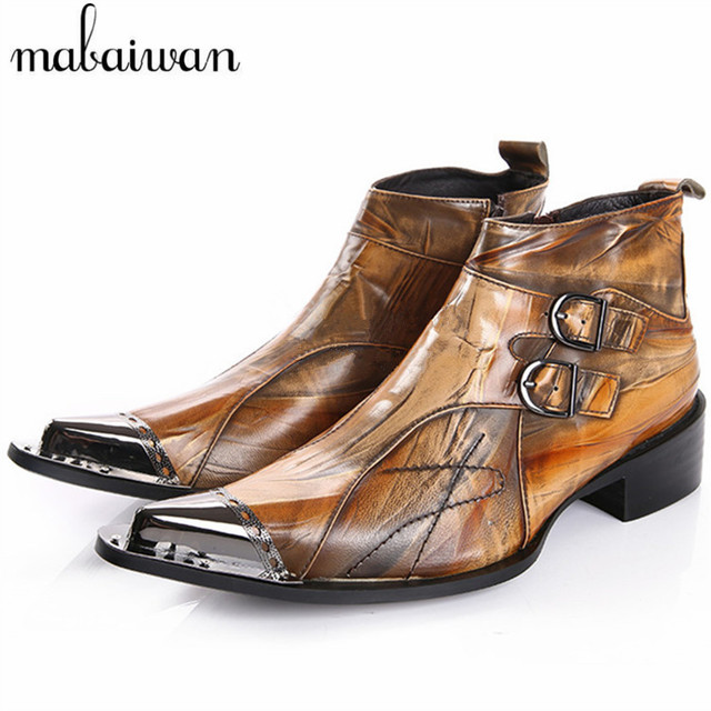 Nueva Moda Brown Hombres Punta estrecha Botines Primavera Otoño Cuero Genuino Botas Hombre de Vaquero Botas Militares Zapatos de Vestir de Fiesta