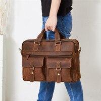Натуральная кожа мужские портфель для ноутбука сумка большая емкость мужской сумка высокого качества природных Crazy Horse мужская сумка