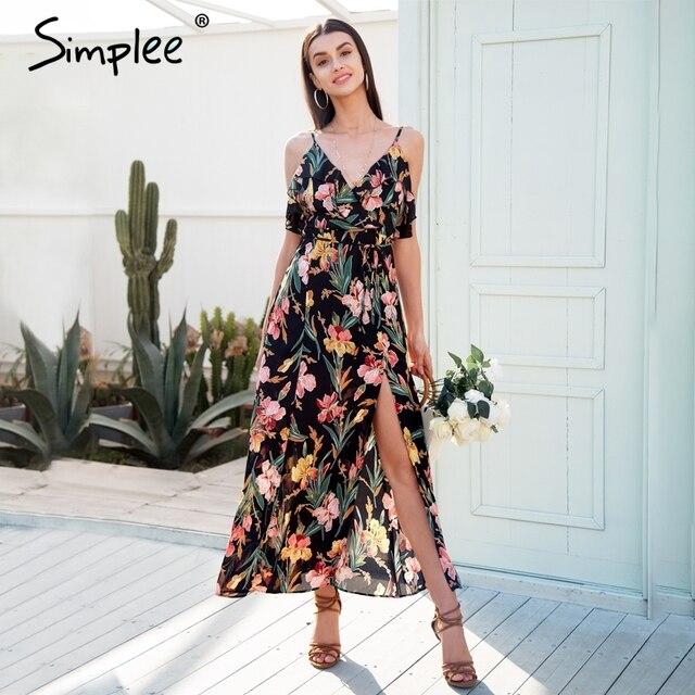 de33ac7a6e879 US $16.66 50% OFF Simplee V neck ruffle floral print summer dress women  Backless strap boho long dress Sleeveless split maxi sexy dress vestidos-in  ...