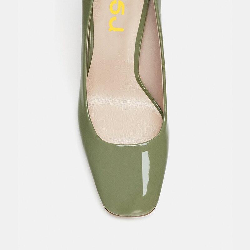 Chaussures Décontractées Glisser 2018 Vert 9 En Green Talons Cuir Femmes Sur Jaune Carré yellow Pompes Nude Robe Femme 8 Haut Bout Automne Des Fsj Classique nude Chunky pORwxaHa