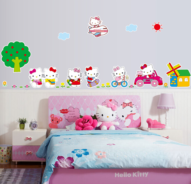 Hello Kitty Wall Sticker Part   24: Cartoon Hello Kitty Wall Sticker Girl  Home Decoration Part 90