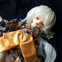 New Fashion Doll Wig Size 7-8 Inch 1/4 High-temperature Wig Girl Long Snow White Hair Bjd