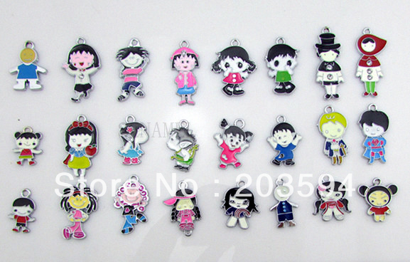 ME021 Wholesale 100Pcs/Lots DIY Alloy Mixed Enamel Boy&girl Charms Fashion jewelry accessories, charms, pendants