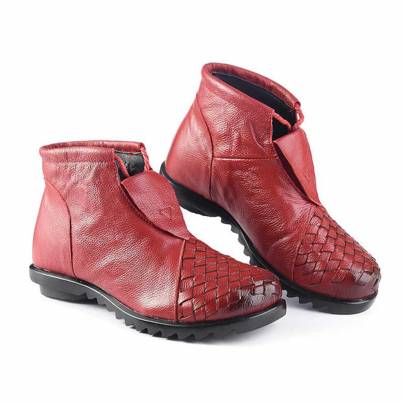 Xiuteng 2019 Hakiki Deri Kadın Çizmeler Düz Patik Yumuşak Inek Derisi kadın ayakkabısı Ön Zip yarım çizmeler zapatos mujer Büyük Boy