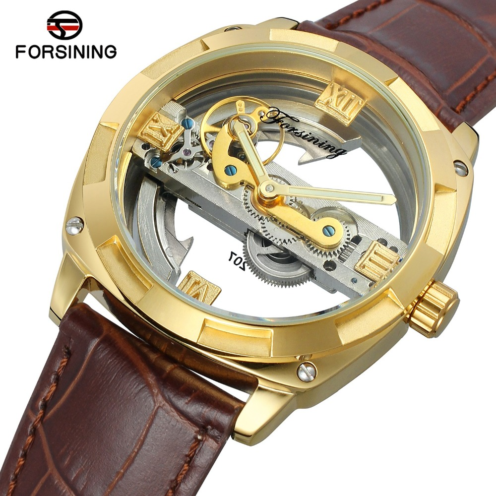 Forsining Vintage Gold Toubillon Luxury Skeleton Watch Mechanical Wristwatches Brown Genuine Leather Belt Transparent Dial акриловые обои hits wallcoverings vintage luxury sz001534