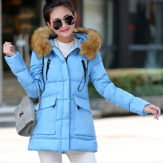 ФОТО 6 Color Nice New Fashion Cotton Padded Down Winter Coat Women Big Raccoon Fur Collar Winter Jacket Women Thick Long Parka AW1183