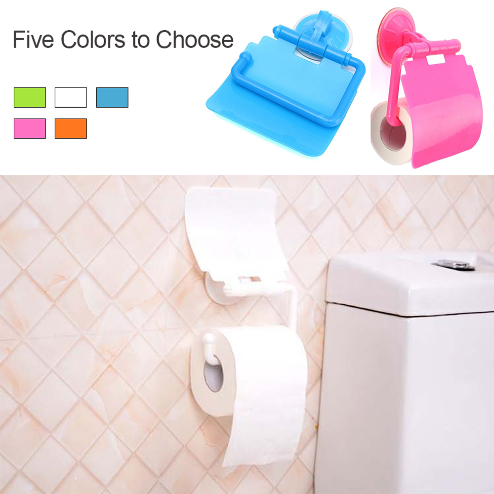 New 1PCS Colorful Wall Mounted Plastic Bathroom Toilet Paper Holder Stander Box With Cover Bathroom Accessories Tools Drop Ship