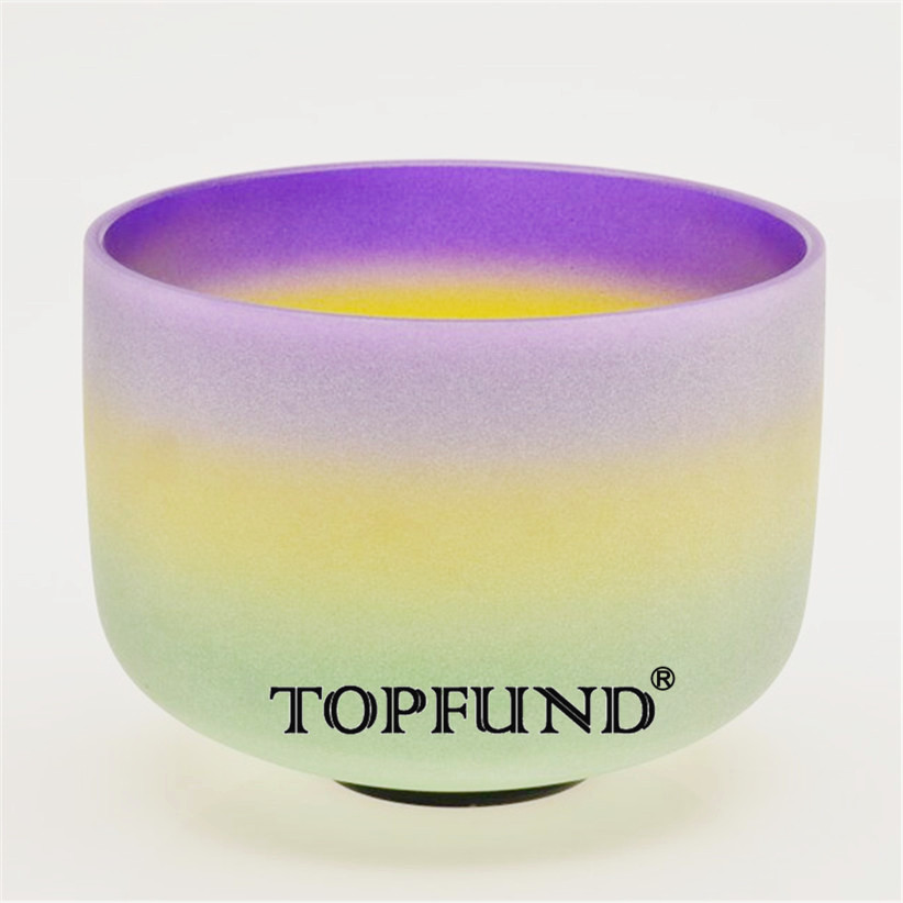 TOPFUND Rainbow Color B Note Crown Chakra Frosted Quartz Crystal Singing Bowl 12-With Free Mallet and O-Ring topfund red color perfect pitch c adrenals chakra frosted quartz crystal singing bowl 10 with free mallet and o ring