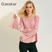 Clocolor women Autumn blouse lace flare sleeve plain solid top elegant girls fashion shirts pink full sleeve 2017 woman blouse