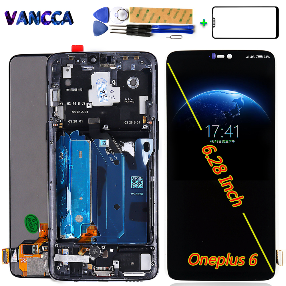 100 Tested AMOLED LCD Display For Oneplus 6 touch screen 1080 2280 Digitizer Assembly 6 28
