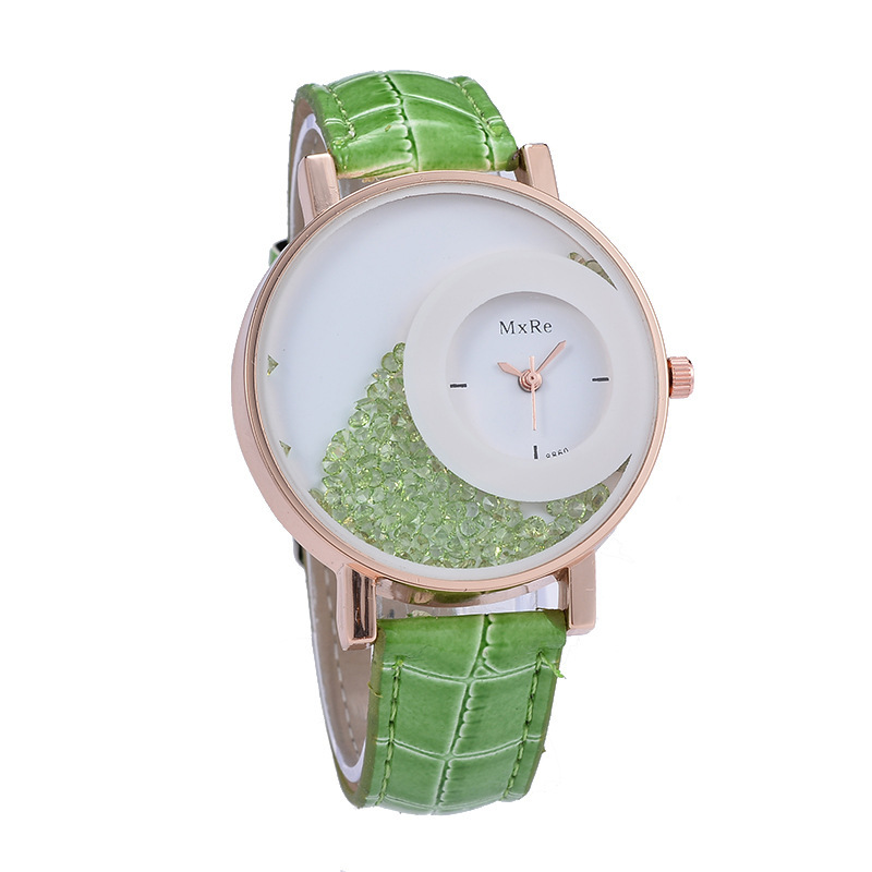 New Fashion Leather Strap Women Rhinestone Wrist Watches Casual Women Dress Watches Crystal Solid Color Hot Relogio Feminino Pakistan