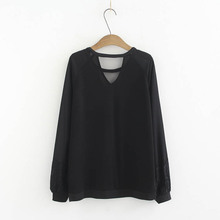 Embroidered Flares Sweaters Hollow Out V-neck Casual Lace Long Sleeve Knitted Sweater Black Pullovers Plus Size KKFY3117