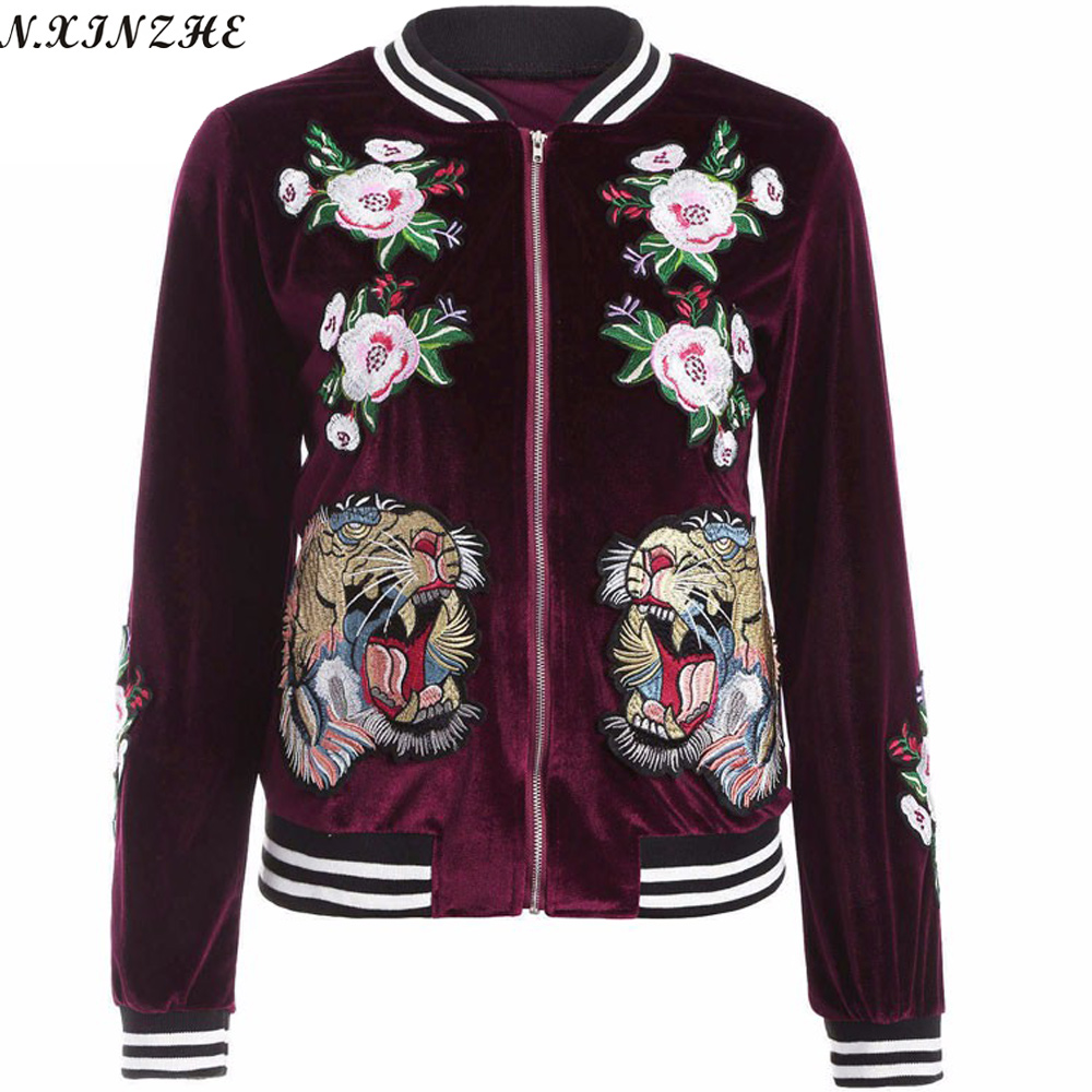 Embroidery bomber Streetwear Women   Jacket   2017 Autumn Fashion flower tiger Pattern   Jacket   coat Female Casual   Basic     Jacket