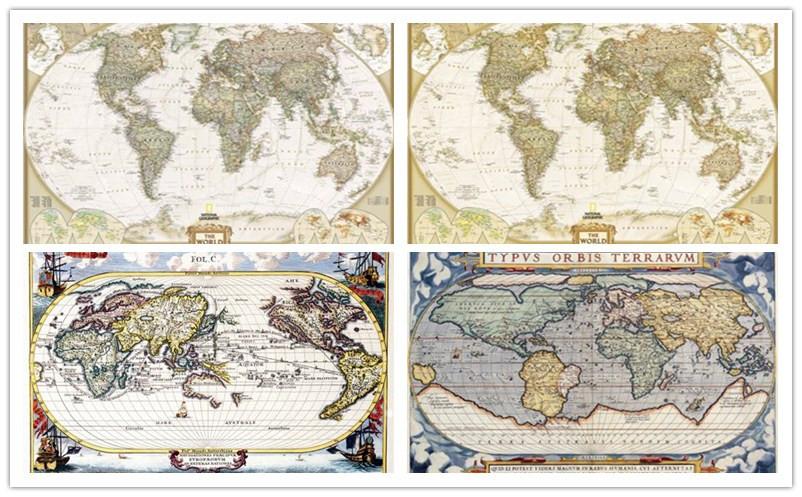 free shipping vintage world map canvas prints oil painting printed on canvas office wall art decoration picture
