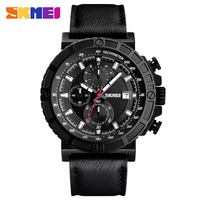 Mens Watches Top Brand Skmei Leather Casual Quartz Watch Men Military Sport Wristwatches Waterproof Clock Male