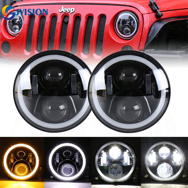 For Jeep Wrangler JK Round 7'' High Low Beam 50W LED Driving headlight for Hummer Offroad 4x4 7 inch daymaker headlamp angel eye black chrome round 75w high low beam drl led auto headlight driving fog lights for jeep wrangler hummer h1 h2 offroad
