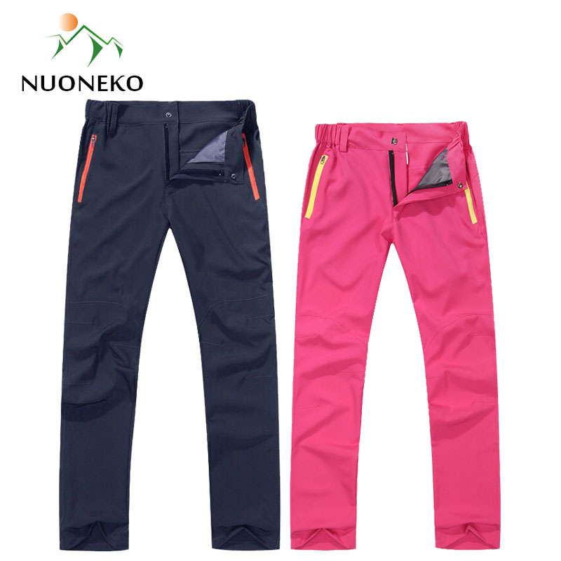 NUONEKO Men Womens Quick Dry Hiking Pants Outdoor Sport Elastic Waterproof Pants Camping Trekking Fishing Climbing Trousers PN31