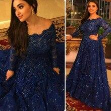 Sparkly Vintage Plus Größe Abendkleider 2016 Langen Ärmeln Perlen Kristalle Ruffled Arabisch Marineblau Spitze Formales Abschlussball-kleider