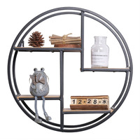Classic Round Iron Storage Rack Wall Hanging Sundries Storage Shelves Flower Pot Holder Home Office Decor Household Crafts Gifts