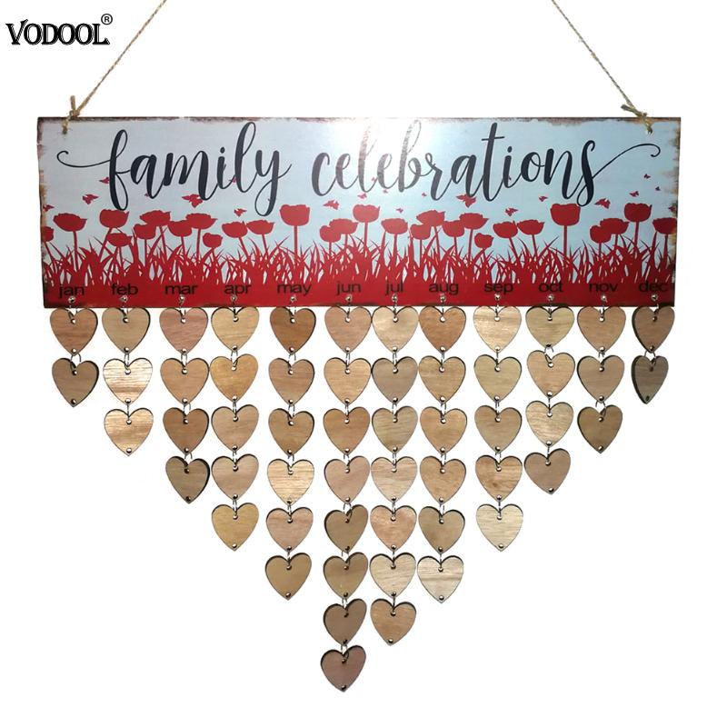 VODOOL Birthday Calendar Family Celebrations Wall Calendar Write Special Dates DIY Wooden Planner Board Hanging Decor Gifts diy wall hanging wooden family birthday calendar