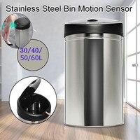 30/40/50/60L Stainless Steel Automatic Electronic Dustbin Tact Smart Motion Sensor Dustbin Rubbish Waste Bin Kitchen Trash