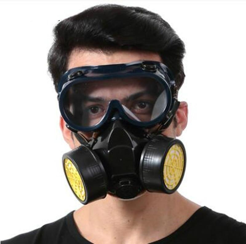 D'urgence de Survie Sécurité Respiratoire Masque À Gaz Anti-Poussière de Peinture Respiratoire Masque avec 2 Double Protection Filtre Et Lunettes