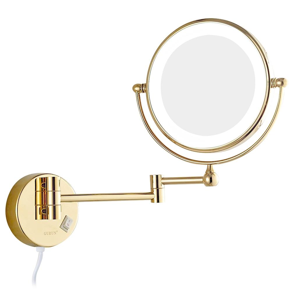 Гурун стену ванной макияж зеркала со светодиодными огнями и 7x увеличительное зеркало для бритья Двусторонняя Расширенный поворачивается з...