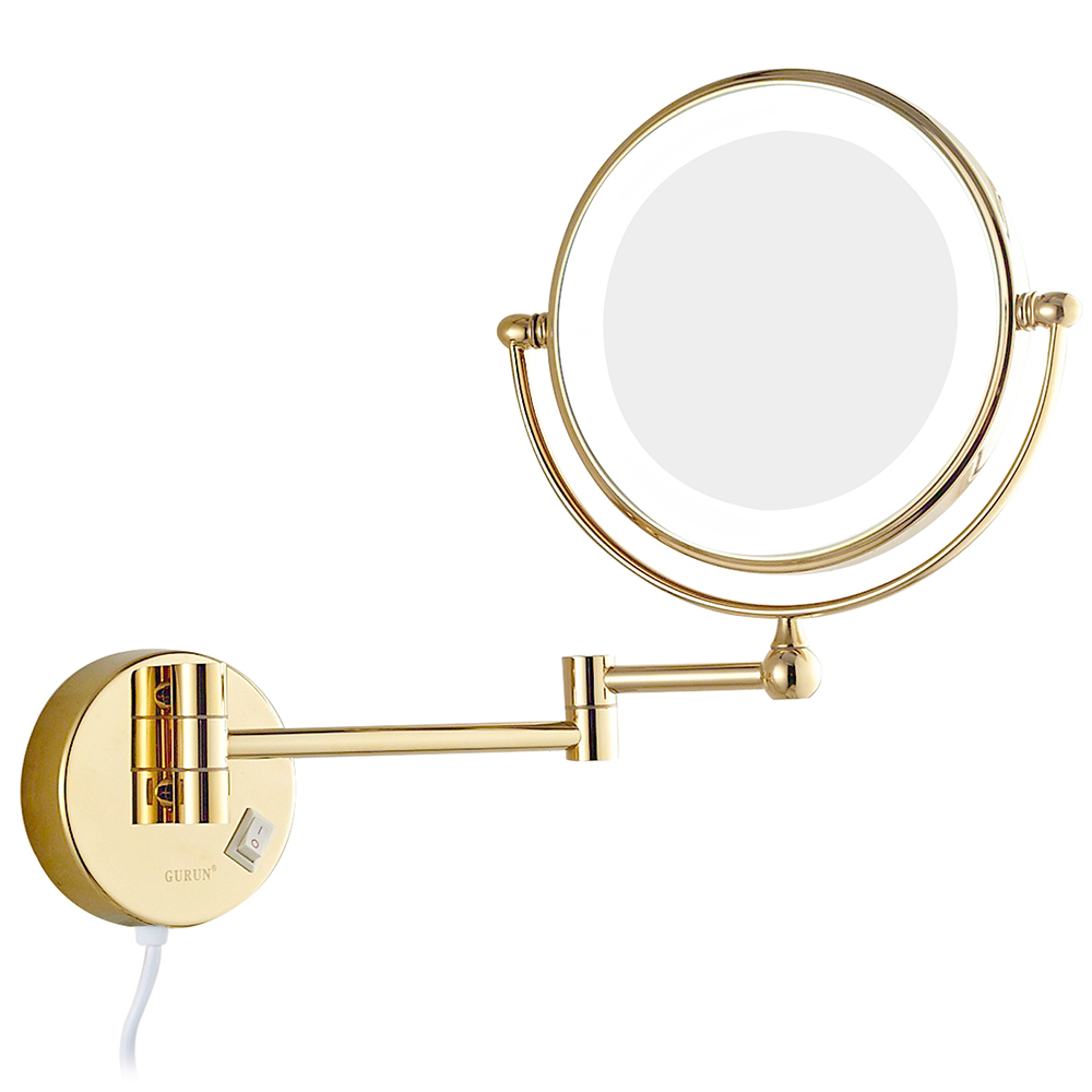 GuRun Wall Mount Bathroom Makeup Mirrors with led Lights and 7x Magnifying Shaving Mirror Double Sided Extended Rotated Gold 8