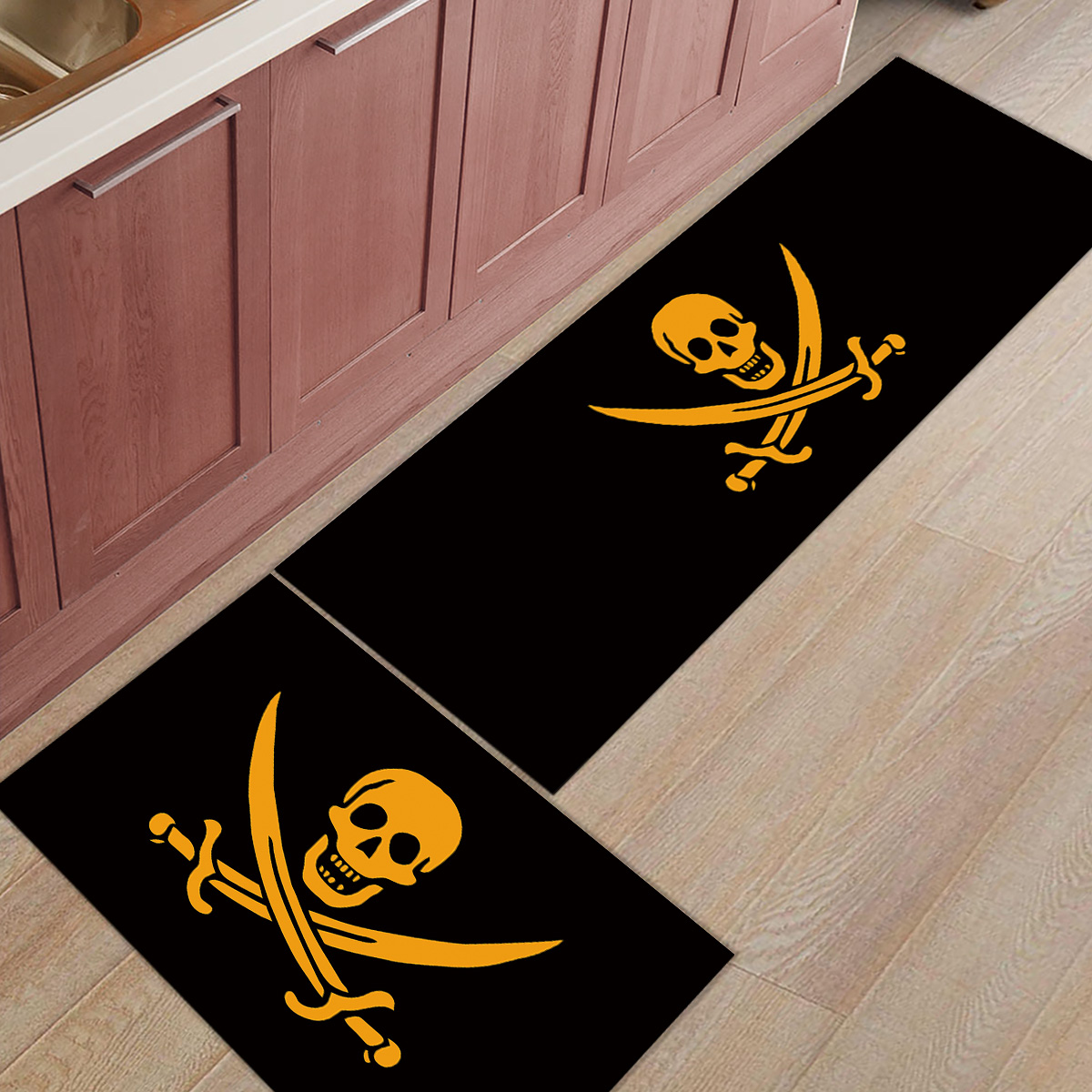 Double knife Cross Skull Pirate Cartoon  Doormats For Entrance Way Dirt Debris Mud Trapper Boot Shoes Scraper Non Slip BackingDouble knife Cross Skull Pirate Cartoon  Doormats For Entrance Way Dirt Debris Mud Trapper Boot Shoes Scraper Non Slip Backing