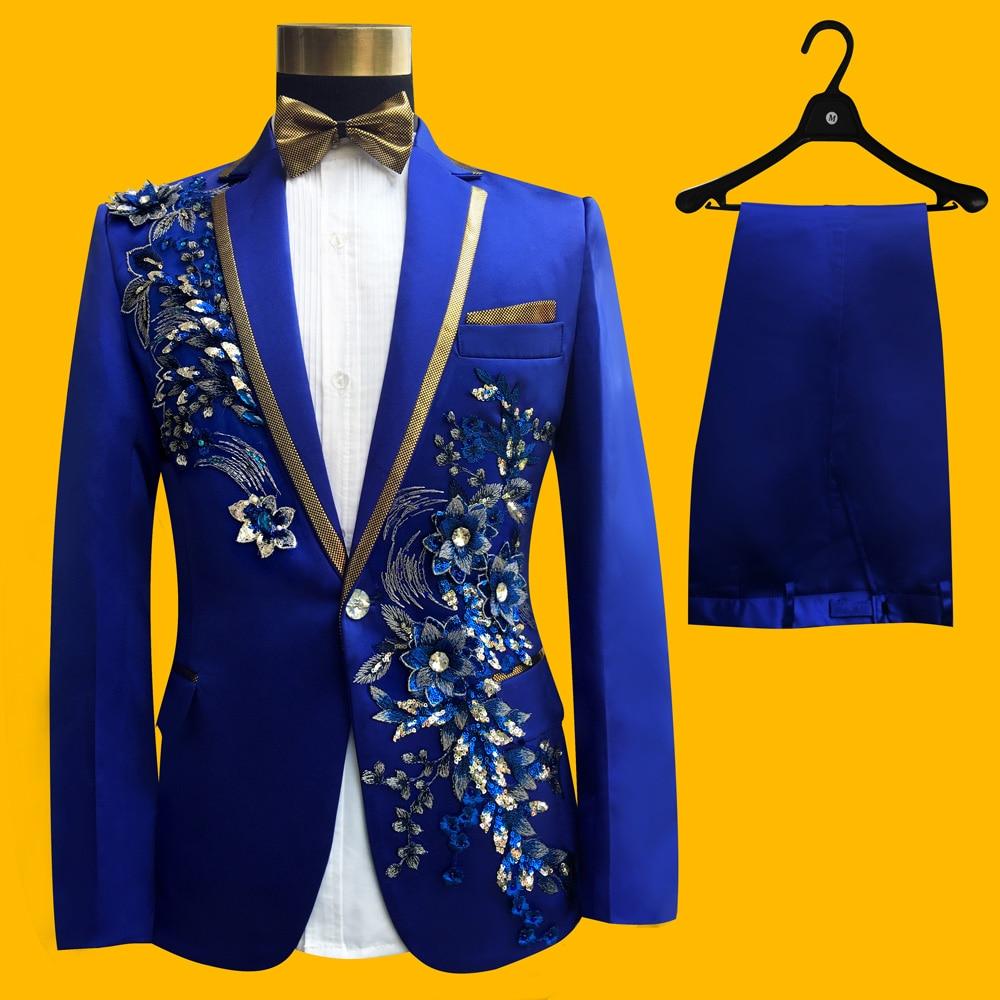 Wedding Groom Tuxedos Suit Men Fashion Blue Paillette Embroidered Male Singer Performance Party Prom Blazer Suit Costume 4 Piece