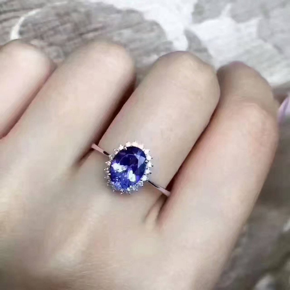 Natural Blue Tanzanite stone Ring S925 Silver Natural Gem Ring Fashion Elegant Diana round Women's wedding party Rings Jewelry