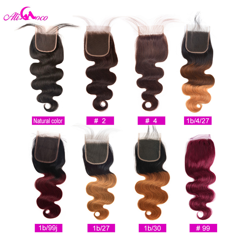 Malaysian Body Wave 4*4 Lace Closure Natural Color/ #2/ #4/ 1/4/27 /1/30 #99 Omber Remy Human Hair Closure 8-20 Ali Coco Hair