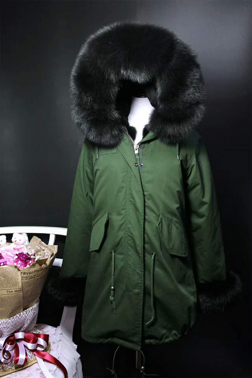 2017 winter new men's fashion fox fur collar black rex rabbit  lining coat nick garment HOODIES middle long parka 2017 winter new clothes to overcome the coat of women in the long reed rabbit hair fur fur coat fox raccoon fur collar