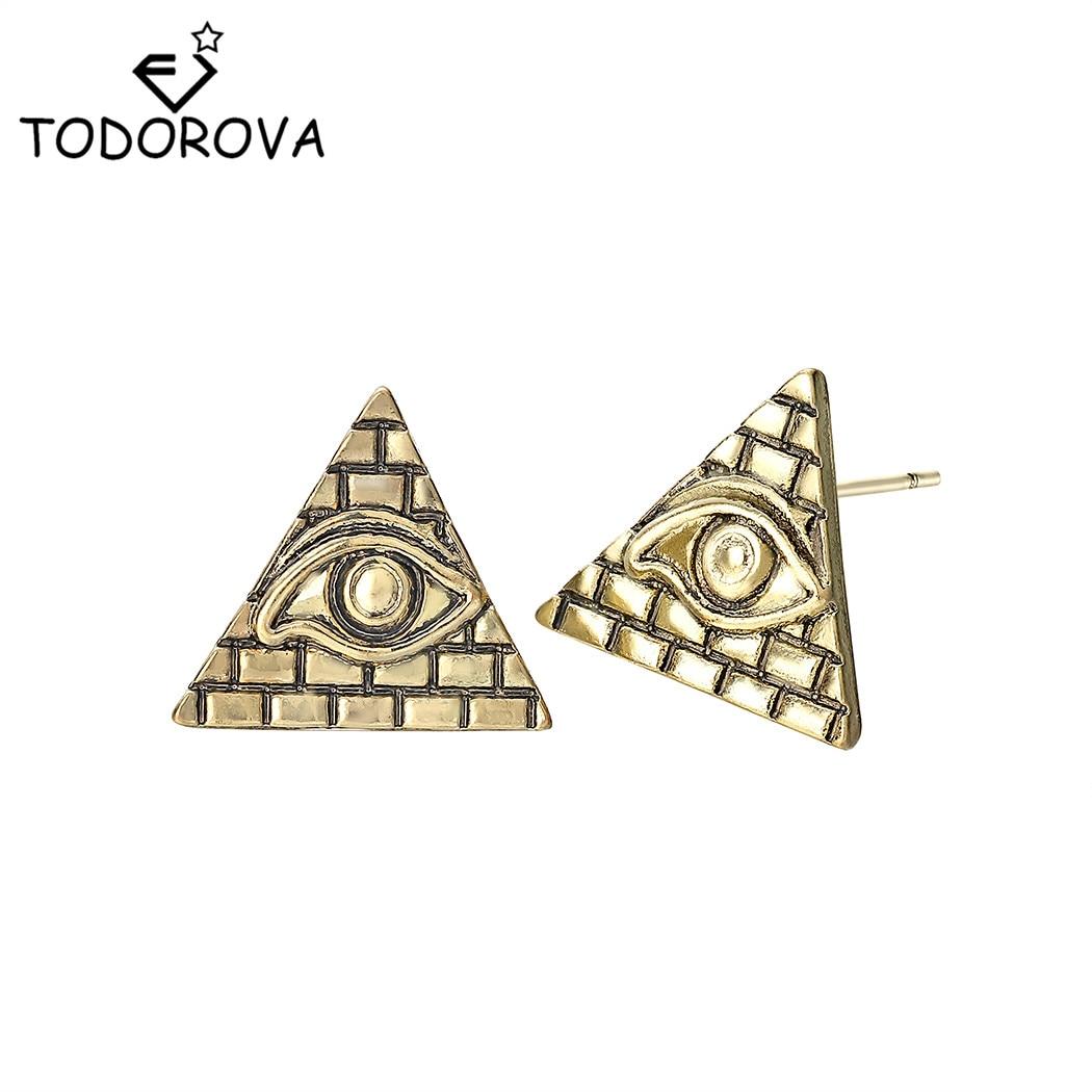 Todorova Vintage Mens Earrings Egyptian Egypt Pyramid All-Seeing Eye Illuminati Stud Earrings Geometric Triangle Jewelry