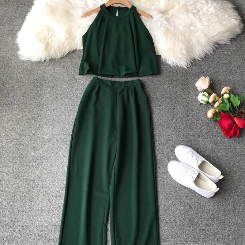 Fashion Halter Shirts Crop Top + Loose Nine-length Pants Suits Women Two Piece Set 2019 Woman Summer 2 Pcs Set Conjunto Feminino