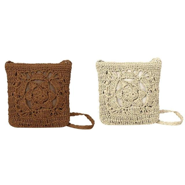 Bohemian Woven Hollow Out Beach Bag Women Crochet Fringed Straw Clutch Handmade Day Clutches Knitting Weave Boho Summer Bag Z70