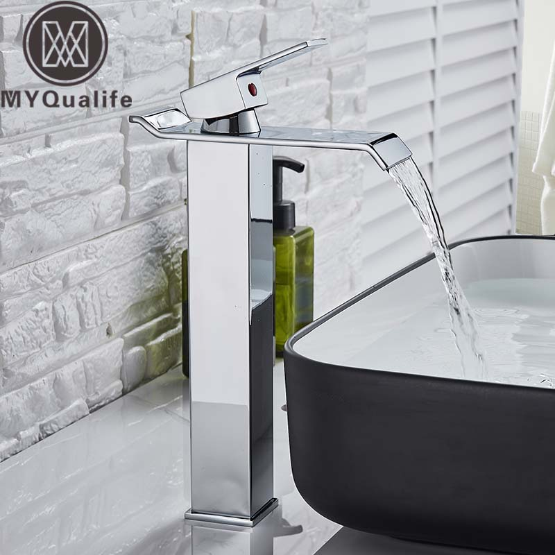 Square Chrome Waterfall Basin Sink Faucet Bathroom Mixer Tap Single Handle Wide Spout Vessel Sink Fauet Hot Cold Water Tap-in Basin Faucets from Home Improvement