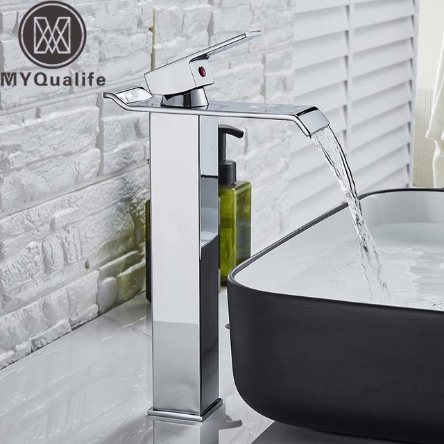 Square Chrome Waterfall Basin Sink Faucet Bathroom Mixer Tap Single Handle Wide Spout Vessel Sink Fauet Hot Cold Water Tap