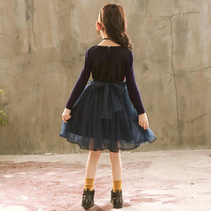 2018 الشتاء الدانتيل اللباس للبنات الاطفال فساتين سترة طويلة الأكمام الفتيات كبيرة الملابس في سن المراهقة عيد الميلاد اللباس فتاة الملابس رداء