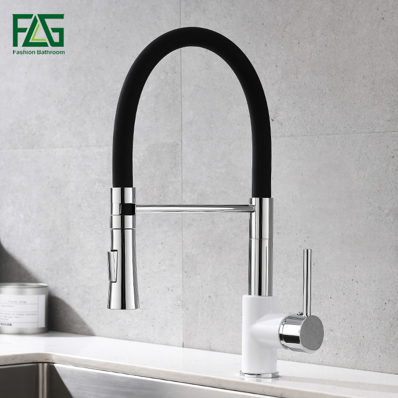 FLG Kitchen Mixer Chrome Sink Faucet Brass Torneira Tap Kitchen Faucets Hot Cold Deck Mounted Bath Mixer Tap 998 33WBC in Kitchen Faucets from Home Improvement