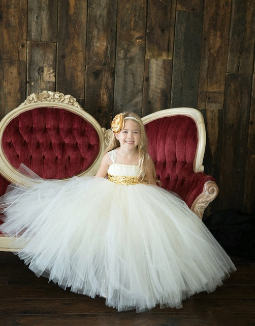 8abe4d36e09bc Katı beyaz altın kanat tutu bebek gelinlik çiçek kız düğün elbisesi tül  kabarık topu elbisesi doğum