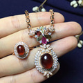 6*8mm/9*11mm real 925 sterling silver very big natural garnet jewelry sets