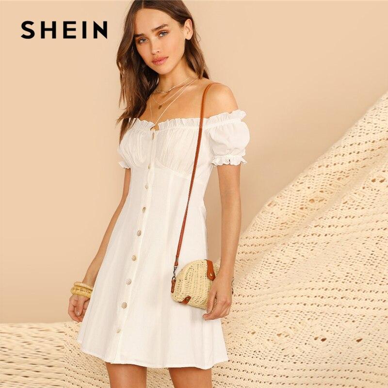 Шеин белая кнопка спереди с пышными рукавами Bardot открытыми плечами платье для женщин Лето Высокая талия трапециевидной формы повседневное