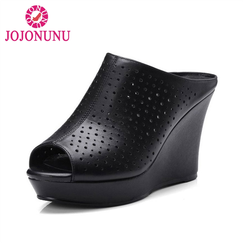 FITWEE Simple Women Real Genuine Leather High Wedges Sandals Hallow Out High Wedges Slippers Summer Women